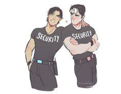 Superbat security guard AU from twitter! Clark: day shift - Bruce: night shift (And bonus JayDick)