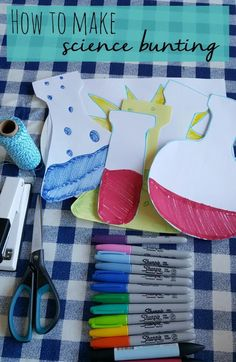 How to make homemade science bunting for parties - Bubbablue and me