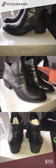 Jessica Simpson leather ankle boots Wore 1x for an hour they are practically brand new perfect condition. Stacked heel little over an inch can't wear due to back issues I wish I could keep and wear. Other then that they are really comfortable true to size. Real leather. *****Reasonable offers only low balls will be declined**** Jessica Simpson Shoes Ankle Boots & Booties