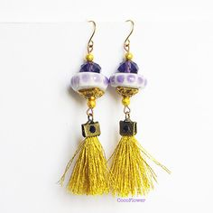 Boho Fringe Earrings Gold tassel Earrings by CocoFlowerShop