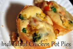 Genius!  Bake Chicken Pot Pies in Muffin Tins to make individual sized portions.  You can freeze them, too!  It's the perfect meal for new moms, working moms, and anyone on the go!