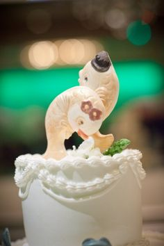 AWWW Vintage fish chocolate cake topper by The Frosted Petticoat