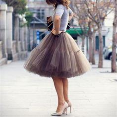 Women Tulle Midi Skirts Gray Mesh Puffy Pleated High Waist Layers Short Flare Tutu Ball Gown
