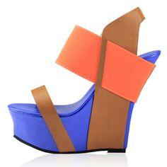 2012新款英伦厚底大码真皮撞色坡跟凉鞋松糕超高跟鞋防水台凉包邮-淘宝网