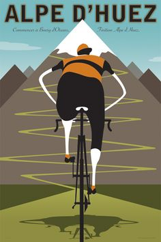 This bicycle print celebrates Alpe d Huez, a climb with 21 twisting switchbacks that has made it a favorite among cyclists since the 1952 Tour de France. Cycling Quotes, Cycling Art, Cycling Bikes, Alpe D Huez, Bicycle Print, Bicycle Design, Bike Poster, Bike Deals, Bike Reviews