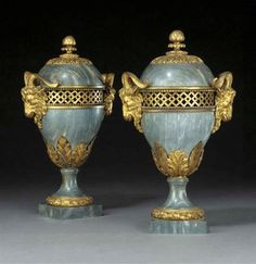 date unspecified A PAIR OF LATE LOUIS XVI ORMOLU AND GILT COPPER-MOUNTED BLEU TURQUIN MARBLE VASES LATE 18TH/EARLY 19TH CENTURY, PROBABLY RUSSIAN  Price realised  GBP 57,360