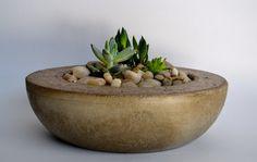 Large tan concrete bowl planter | RosebudDesignStudio - Housewares on ArtFire