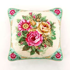 Vintage Rose Decorative Needlepoint Pillow