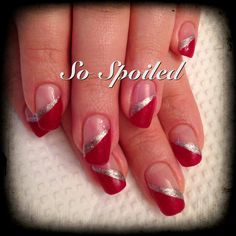 Bio Sculpture Nail Art & Design   Simple red French with a tapered stripe of silver to accent. The angled French elongates the nail making it appear much longer. Classic winter or holiday nail.  Featured colours: #63 Moulin Rouge and #138 Melting Mercury