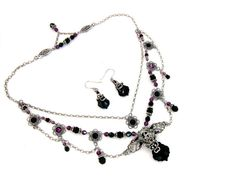 Swarovski Crystal Victorian Inspired Necklace and Earring Set in Amethyst, Jet Black, and Antiqued Sterling Silver Finished Brass by ArdentHearts