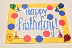 Yellow, Red and Blue Polkadot Birthday Card // Birthday Balloons // Birthday Party Hats // Birthday for Him // Birthday for Her // Handmade