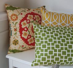 "$30 Etsy. 18""x18"" pillow cover. Gorgeous prints. Color story for Family Room: Red, Golden Yellow, and Olive Green."