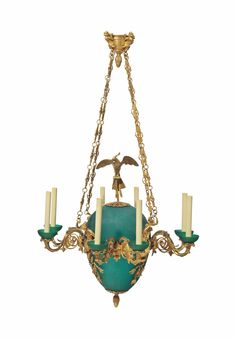 A Russian ormolu and frosted green glass chandelier, 20th century