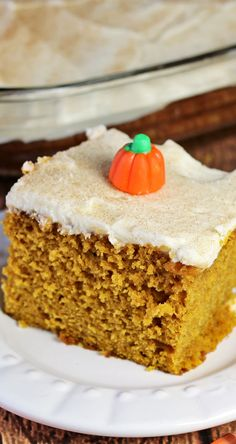 Pumpkin Snack Cake - This easy to make pumpkin snack cake is perfect for fall. It is lightly spiced with cinnamon and frosted with a cream cheese frosting. #PumpkinWeek - Recipes Food and Cooking