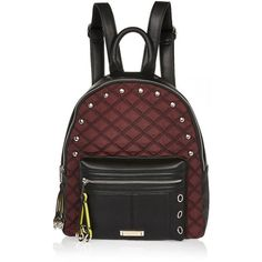 River Island Dark red quilted backpack ($46) ❤ liked on Polyvore featuring bags, backpacks, vegan leather bags, shoulder strap bags, river island, fake leather backpack and strap backpack