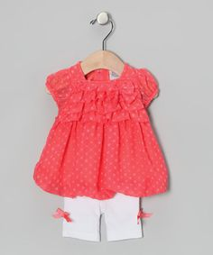 Take a look at this Coral Polka Dot Bubble Tunic & Capri Leggings by Baby Essentials on #zulily today!