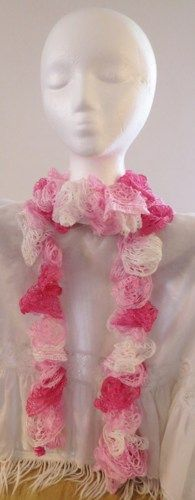 Pink Ruffle Scarf Handmade Crocheted | luvncrafts - Accessories on ArtFire