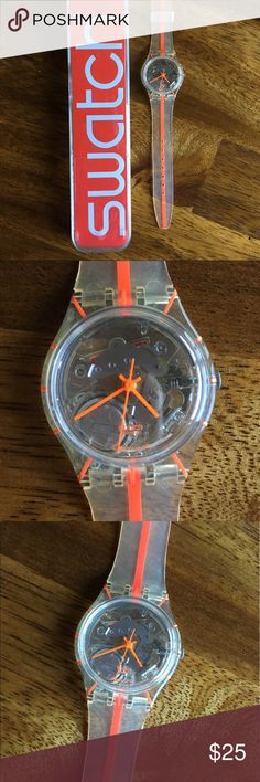 Swatch Watch in Clear and Orange Like new! Clear with Orange details. The face shows the gears inside. Original packaging included. This will need a battery. Swatch Accessories Watches