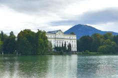 Leopoldskron Palace in Salzburg, Austria. This location was used as the exterior of the Von Trapp house in The Sound of Music, and can be seen when the children and Maria fall from their boat into the lake.   #travel #travelblog #roadtrip #Europe #Eurotrip #Blog #Austria #Salzburg #LeopoldskronPalace #Soundofmusic #Lake #landscape  #thehillsarealive