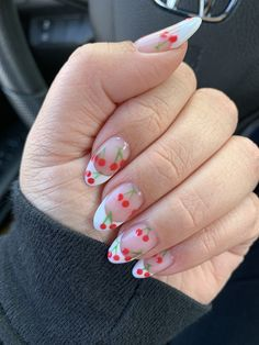 Almond Nails French, Almond Acrylic Nails, French Tip Nails, Best Acrylic Nails, Summer French Nails, White Almond Nails, Frensh Nails, Swag Nails, Cherry Nails