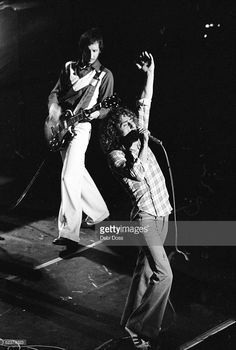 Guitarist Pete Townshend and Roger Daltrey of The Who on stage at the Lyceum, London, 1973. Credit: Debi Doss