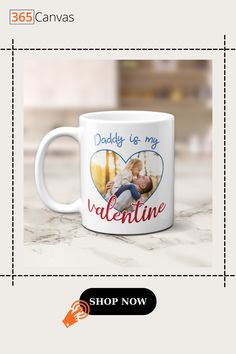 Fathers are the standard against which daughters judge all men. They are a daughter's first love, first hero, and first kiss. They are her first Valentine. On this Valentine's Day, gift your father our 'Daddy Is My Valentine' custom photo mug to let him know that he will always be your first. #daddyismyvalentine #customphotomug #valentinesday2021 #customgifts #couplegift