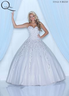 White Quinceanera dress ~ Quinceanera dresses from Q by Davinci #quince XV años. Available in White, Pink, Teal