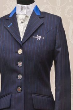 Navy Pinstripe/ blue collar from Joshua Jones, exclusive equestrian products