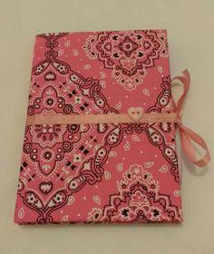 Agenda forrada tecido bandana pink.