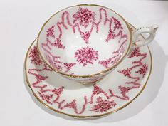 Coalport Tea Cup and Saucer, Tea Cups and Saucers, Tea Set, English Bone China Tea Cups, Antique Teacups, Pink Cups, Vintage Tea Party by AprilsLuxuries on Etsy