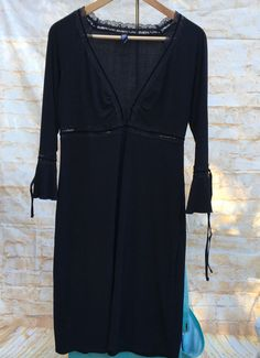 Laundry Shelli Segal Black LBD Empire Waist 3/4 Sleeve Shift Cocktail Dress Sz 8 #Laundry #EmpireWaist #Cocktail