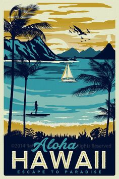 this is 100% original artwork Hawaii Retro Vintage Travel Poster Surf Palm Trees Screen Print hand screen printed 3 color design. • ARTWORK