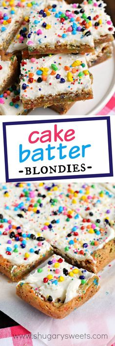 Chewy and butter-rich Cake Batter Blondies are so easy to make! Don't forget to top them with the sweet cake batter frosting too for an over the top dessert!: