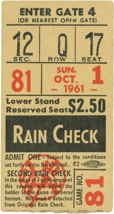 1961 Roger Maris Sixty-First Home Run Ticket Stub. When ranking the most memorable moments in post-war baseball history in terms of fan attendance, the game that saw Roger Maris supplant the Babe at the top of single season home run ladder rates right at the bottom.