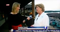 WDBJ reporter Alison Parker interviews a woman at Bridgewater Plaza in Moneta, Va. moments before the shooting.