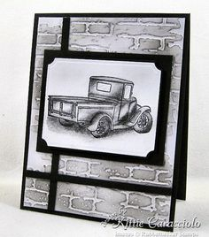 Truck in Pencil - great background for masculine cards Masculine Birthday Cards, Birthday Cards For Men, Masculine Cards, Male Birthday, Boy Cards, Men's Cards, Valentines Flowers, Valentine Nails, Valentine Ideas