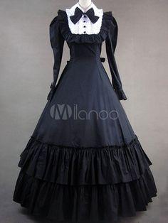 Classic Lolita Victorian Black Ruffled Long Formal Gown Dress $95.99 AT vintagedancer.com