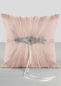 Champagne Sparkle Ring Bearer Pillow Petal
