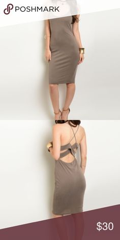 ✨COMING SOON taupe slip dress✨ ✨Will be stocked in 3-5 business days ✨Unbranded, price is firm, no trade        ✨95% rayon, 5% spandex                     ✨Bodycon fit, strappy back design Nasty Gal Dresses Midi