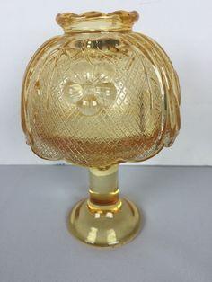 Vintage Pedestal Floral Flower Design Glass Fairy Lamp Candle Holder