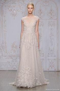 monique lhuillier #bridal fall 2015 primrose embellished lace tulle cap sleeve a line wedding dress
