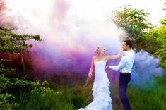 Ché and Warren's smoke bomb wedding photos, from a post-wedding - trash the dress photo session filled with smoke grenades, proteas and golden light. Smoke Bomb Photography, Royal Photography, Couple Photography, Wedding Photography, Image Photography, Photography Ideas, Wedding Tags, Post Wedding, Wedding Blog