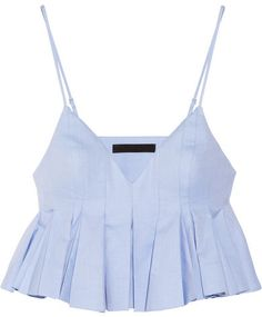 In luv with Alexander Wang Cropped pleated cotton top Summer Outfits, Casual Outfits, Cute Outfits, Fashion Outfits, Womens Fashion, Alexander Wang, Cropped Tops, Mode Top, Sleeveless Crop Top