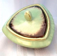 Mint Chocolate Trinket Dish German Vintage by BoomervillePottery