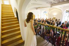 The grand staircase in the Garden Room is a fantastic way to make an entrance moments before walking down the isle! www.missendenabbey.co.uk/weddings/