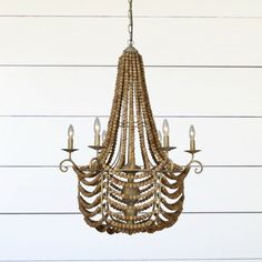 Add a bold touch of rustic elegance to any room in your home with our Wood and Metal Beaded Chandelier. Visit Antique Farmhouse today for more chandeliers and hanging light fixtures. Porch Pendant Light, Foyer Pendant Lighting, Round Pendant Light, Wood Bead Chandelier, Rattan Pendant Light, Shell Chandelier, Glass Pendant Light, Pendant Light Fixtures, Chandeliers