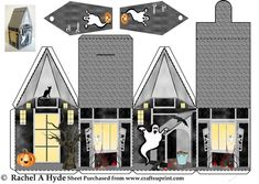 Halloween Haunted House Box by Rachel A Hyde Simply cut out, score along the lines, fold and stick to make this haunted house box for…