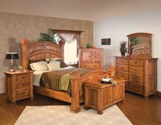 Amish Trenton Six Piece Bedroom Set Divine woodworking makes the Trenton a masterpiece for bedrooms. Built in the solid wood you select and finished to perfection. Have fun adding features to this Amish bedroom furniture like choice of slat or platform, option to add low footboard, luxurious lining for built in jewelry trays, touch lighting for nightstand, cushion for blanket chest and more. #bedroomsets #bedroomset #bedroom #amishbeds