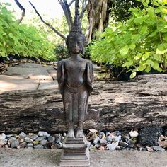"Excited to share this item from my #etsy shop: 15.7"" North Thai Chiang Rung Antique Buddha Statue In Pacifying The Ocean Pose Buddha Statue Home, Spiritual Figures, Bronze Gifts, Chinese Buddha, Thai Elephant, Buddha Sculpture, Gautama Buddha, Northern Thailand"
