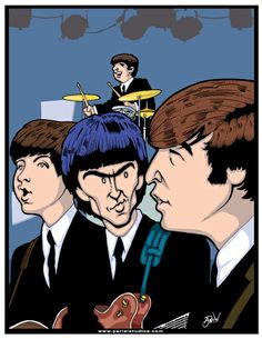 The Beatles Playing at the Ed Sullivan Show. 50th Anniversary illustration.
